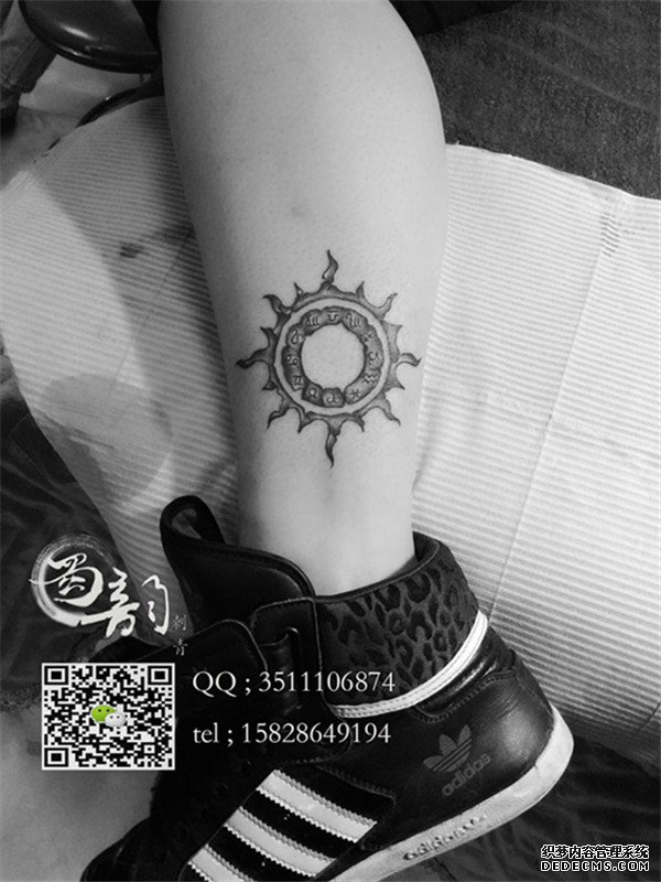 小腿纹身 十二星座纹身 蜀韵刺青纹身纹绣 攀枝图片