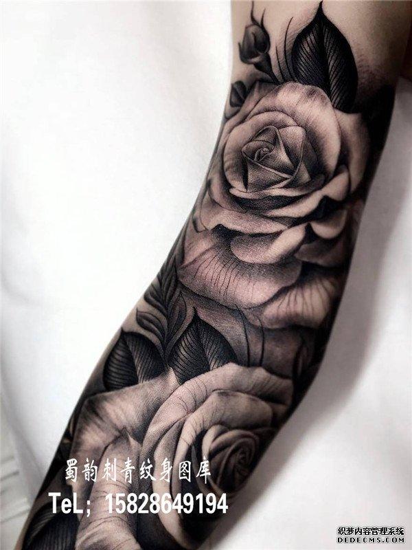 欧美纹身 手臂纹身 胳膊纹身 玫瑰花纹身 攀枝花