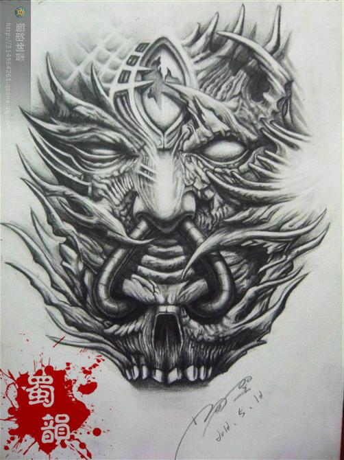 恶魔与佛纹身手稿分享展示