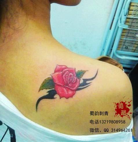 玫瑰纹身,后肩纹身图案,女生纹身,纹身攀枝
