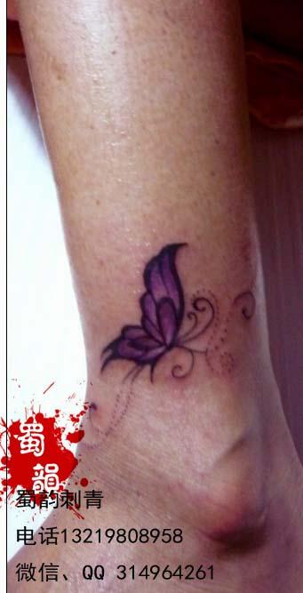 脚踝纹身,蝴蝶纹身,女生纹身,攀枝花纹身,攀图片