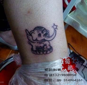小象纹身,女生纹身,脚踝纹身