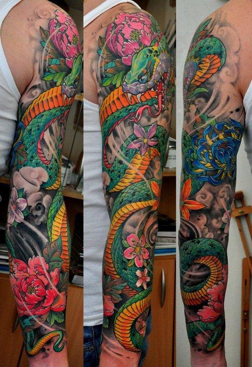 分享一张花臂蛇纹身,花臂纹身,攀枝花纹身蜀